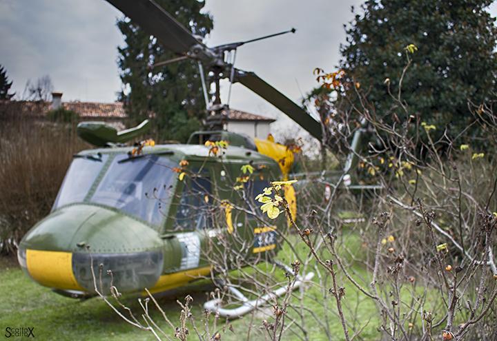 Il Castello di San Pelagio: elicottero nel parco
