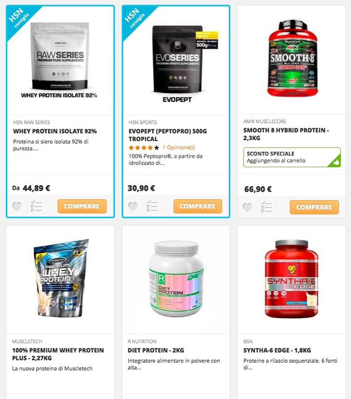 HSNstore: il sito dove acquistare proteine - Selezione di proteine della store on line