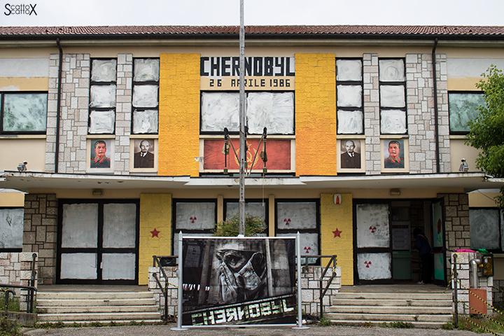Il silenzio assordante di Chernoby: facciata della ex scuola elementare di Povolaro, Dueville (VI)