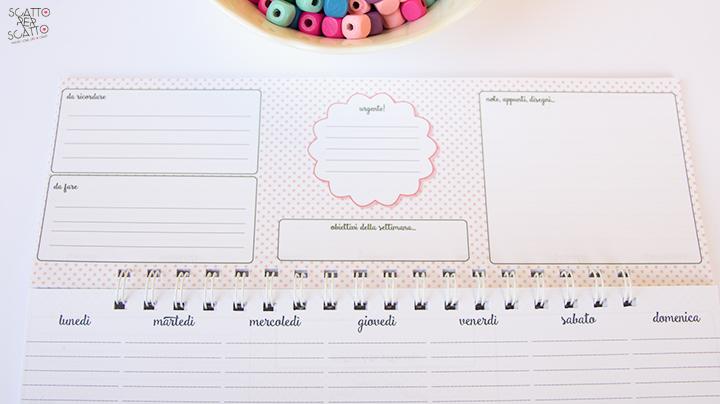Desk planner settimanale