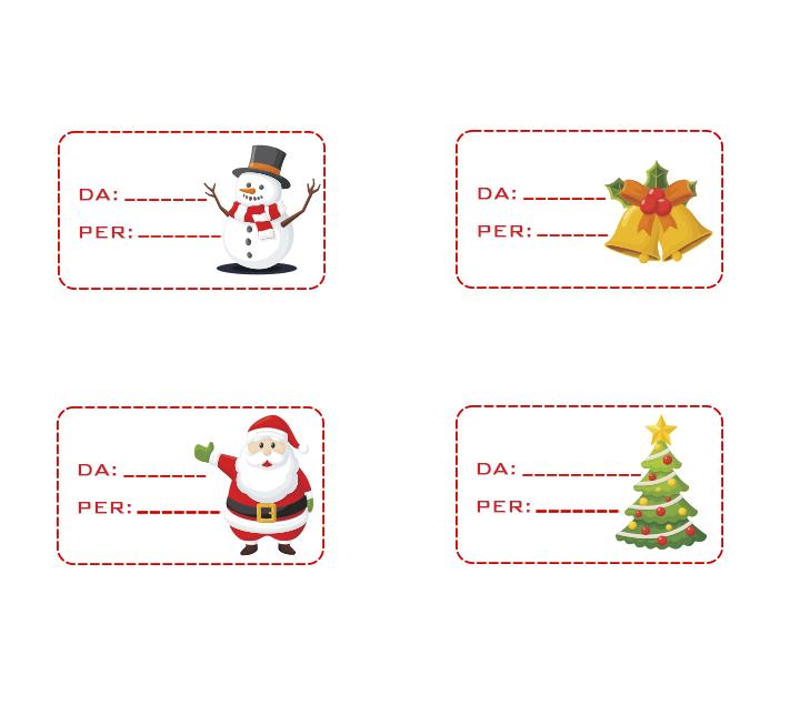 Etichette chiudi pacco natalizie - Calendario dell'avvento