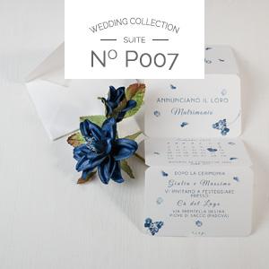 Partecipazione di nozze fatta a mano modello Blue
